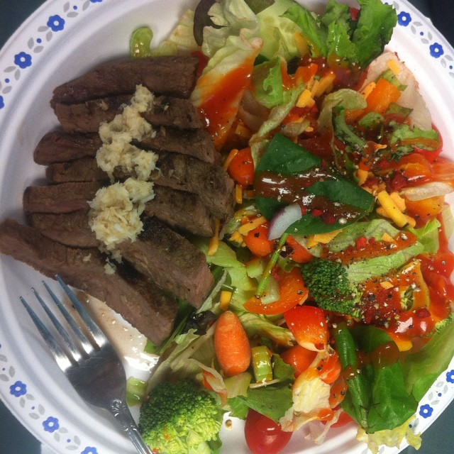 Work lunch: leftover flank steak with a mixed veg salad and low cal Catalina dressing!